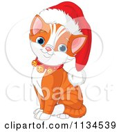 Cartoon Of A Cute Christmas Kitten Wearing Jingle Bells And A Santa Hat Royalty Free Vector Clipart by Pushkin