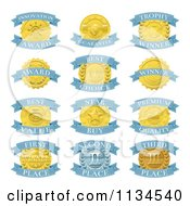Clipart Of Blue And Gold Award Placement Badges Royalty Free Vector Illustration by AtStockIllustration