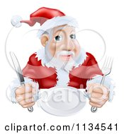 Cartoon Of A Hungry Santa Waiting For His Dinner Royalty Free Vector Clipart