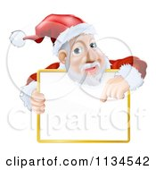 Cartoon Of Santa Pointing Down To A Sign Over His Torso Royalty Free Vector Clipart