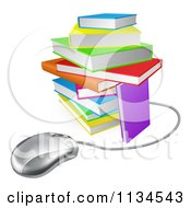 Clipart Of A Computer Mouse Wired To A Colorful Stack Of Books Royalty Free Vector Illustration