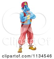 Cartoon Of A Genie Standing With His Arms Folded Royalty Free Vector Clipart by AtStockIllustration