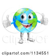 Cartoon Of A Globe Mascot Holding Two Thumbs Up Royalty Free Vector Clipart
