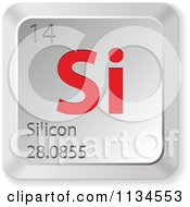 Clipart Of 3d Red And Silver Silicon Element Keyboard Button Royalty Free Vector Illustration by Andrei Marincas