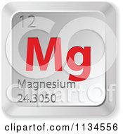 Clipart Of 3d Red And Silver Magnesium Element Keyboard Button Royalty Free Vector Illustration by Andrei Marincas