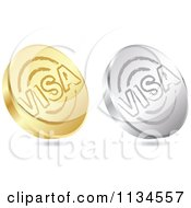 3d Gold And Silver Visa Coin Icons