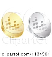 Clipart Of 3d Gold And Silver Equalizer Coin Icons Royalty Free Vector Illustration by Andrei Marincas