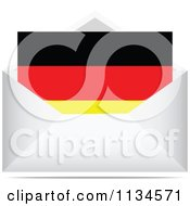 Clipart Of A German Letter In An Envelope Royalty Free Vector Illustration