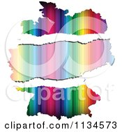 Clipart Of A Colorful Torn Paper German Map Royalty Free Vector Illustration