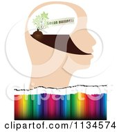 Clipart Of A Green Business Idea Head Over Colors Royalty Free Vector Illustration by Andrei Marincas