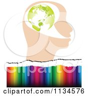 Clipart Of A Globe Head Over Colors Royalty Free Vector Illustration by Andrei Marincas