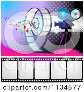 Clipart Of A Filming Movie Camera With Film And Music Notes Over Purple With Halftone 1 Royalty Free Vector Illustration by merlinul