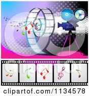 Clipart Of A Filming Movie Camera With Film And Music Notes Over Purple With Halftone 2 Royalty Free Vector Illustration
