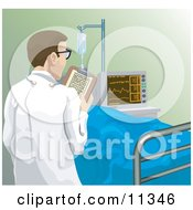 Male Doctor Checking In On A Patient In A Hospital Clipart Illustration