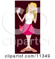Blond Woman Talking On A Mobile Phone Clipart Illustration by AtStockIllustration