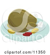 Thanksgiving Or Christmas Turkey On A Platter For A Meal Clipart Illustration