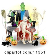 Witch Frankenstein Skeleton Mummy Black Cats And Pumpkins At A Halloween Party Clipart Illustration by AtStockIllustration