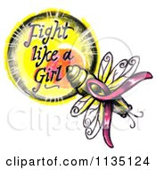 Clipart Of A Lightning Bug And Fight Like A Girl Breast Cancer Circle Royalty Free Illustration by LoopyLand #COLLC1135124-0091