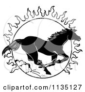Clipart Of A Black And White Running Horse And Sun Royalty Free Illustration by LoopyLand
