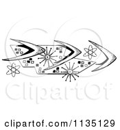 Clipart Of A Black And White Retro Boomerang And Atom Motif Royalty Free Illustration by LoopyLand #COLLC1135129-0091
