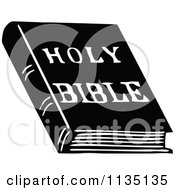 Clipart Of A Retro Vintage Black And White Holy Bible Book Royalty Free Vector Illustration