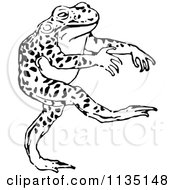 Clipart Of A Retro Black And White Bull Frog Walking Royalty Free Vector Illustration by Prawny Vintage