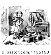 Clipart Of Retro Vintage Black And White Girls Playing With A Dog Royalty Free Vector Illustration