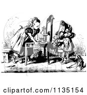 Clipart Of Retro Vintage Black And White Girls Playing Shop With A Scale And Chair Royalty Free Vector Illustration