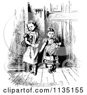Clipart Of Retro Vintage Black And White Girls With Dolls Royalty Free Vector Illustration