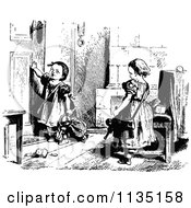Clipart Of A Retro Vintage Black And White Girl With A Broken Doll Royalty Free Vector Illustration