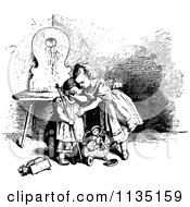 Clipart Of A Retro Vintage Black And White Girl Consoling Her Sister Over A Broken Toy Royalty Free Vector Illustration