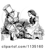 Clipart Of A Retro Vintage Black And White Boy Playing Doctor With A Girls Doll Royalty Free Vector Illustration