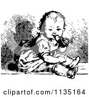 Clipart Of A Retro Black And White Baby Chewing A Shoe Royalty Free Vector Illustration by Prawny Vintage