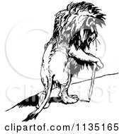 Clipart Of A Retro Vintage Black And White Injured Lion Using A Cane Royalty Free Vector Illustration by Prawny Vintage