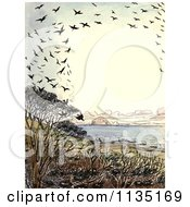 Clipart Of A Vintage Frame Of Crows Over A Beach Royalty Free Illustration