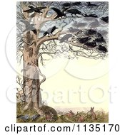 Clipart Of A Vintage Frame Of Crows In A Tree Over Rabbits And Pigeons Royalty Free Illustration