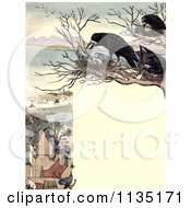 Clipart Of A Vintage Frame Of Nesting Crows Over A Village Royalty Free Illustration