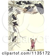 Clipart Of A Vintage Frame Of Nesting Crows Over A Girl Royalty Free Illustration