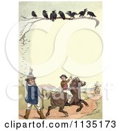 Clipart Of A Vintage Frame Of Crows Over Hunters Royalty Free Illustration