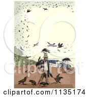 Clipart Of A Vintage Frame Of Crows Around A Scarecrow Royalty Free Illustration