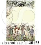 Clipart Of A Vintage Frame Of Crows Over Shooters Royalty Free Illustration