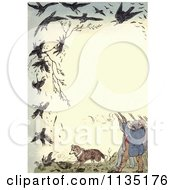 Clipart Of A Vintage Frame Of Shooters Killing Crows Royalty Free Illustration