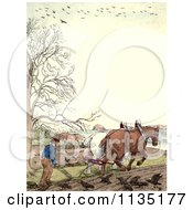 Clipart Of A Vintage Frame Of A Man And Horses Ploughing Royalty Free Illustration