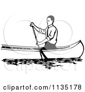 Clipart Of A Retro Vintage Black And White Man Canoeing 1 Royalty Free Vector Illustration