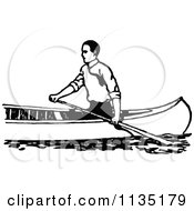 Clipart Of A Retro Vintage Black And White Man Canoeing 2 Royalty Free Vector Illustration by Prawny Vintage