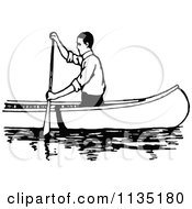 Clipart Of A Retro Vintage Black And White Man Canoeing 3 Royalty Free Vector Illustration
