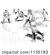 Clipart Of A Retro Black And White Baseball Player Running For A Base As A Ball Is Thrown Royalty Free Vector Illustration