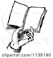Clipart Of A Retro Vintage Black And White Hand Holding A Book Royalty Free Vector Illustration