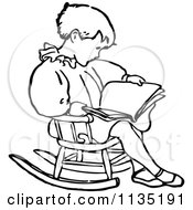 Clipart Of A Retro Vintage Black And White Boy Reading In A Rocking Chair Royalty Free Vector Illustration