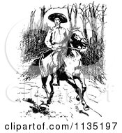 Clipart Of A Retro Vintage Black And White Man With A Rifle On A Horse Royalty Free Vector Illustration by Prawny Vintage